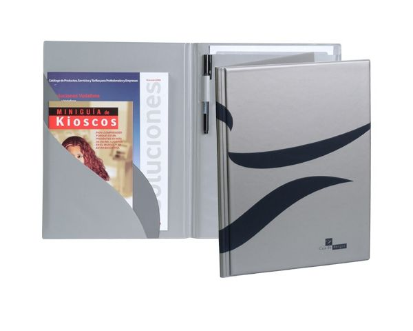 Conference notepad folder in silver PVC