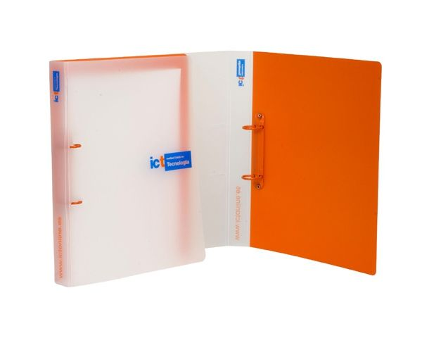 Clear frosted polypropylene ring binder with two colour screen print